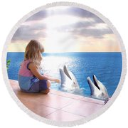 Dolphin Family Round Beach Towel