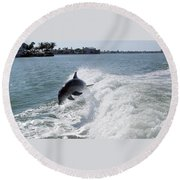 Dolphin Playing Round Beach Towel