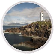 Donegal Lighthouse Round Beach Towel