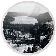 Donner Lake - California - C 1865 Round Beach Towel