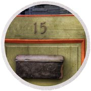 Door 15 Round Beach Towel