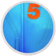 Door Five Round Beach Towel