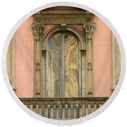 Doors Balcony And Duomo Reflection In Milan Italy Round Beach Towel