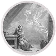 Dor�: The Annunciation Round Beach Towel