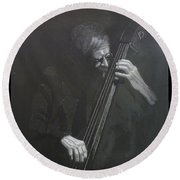 Double Bass Player Round Beach Towel