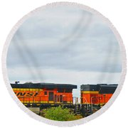 Double Bnsf Engines Round Beach Towel
