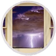 Double Lightning Strike Picture Window Round Beach Towel