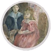 Double Portrait Of Charley And Jeannie Thomas Round Beach Towel