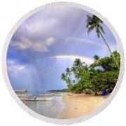 Double Rainbow At The Beach Round Beach Towel by Yhun Suarez