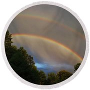 Double Rainbow Round Beach Towel by Science Source