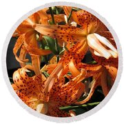 Double Tiger Lily Named Flora Pleno Round Beach Towel