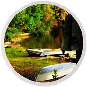 Down By The Riverside Round Beach Towel by Karen Wiles