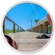 Down The Deck Round Beach Towel by Betsy Knapp