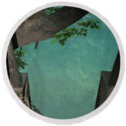 Down To The Creek Round Beach Towel