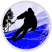 Downhill On The Ski Slope  Round Beach Towel