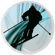 Downhill Skiing On Icy Ribbons Round Beach Towel