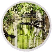 Downstream Reflections Round Beach Towel
