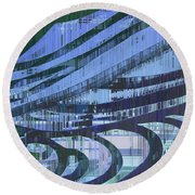 Downtown Blues Round Beach Towel