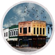 Downtown Bryan Texas Panorama 5 To 1 Round Beach Towel
