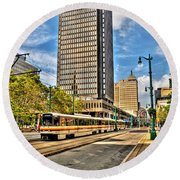 Downtown Buffalo Metro Rail  Heading To The Erie Canal Harbor Round Beach Towel