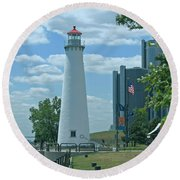 Downtown Detroit Lighthouse Round Beach Towel