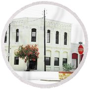 Downtown Flouresville Texas Round Beach Towel