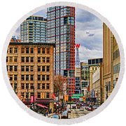 Downtown Hdr Round Beach Towel