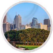 Downtown Philadelphia Skyline Round Beach Towel