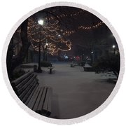 Downtown Winter Round Beach Towel