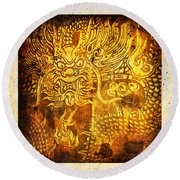 Dragon Painting On Old Paper Round Beach Towel