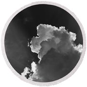 Dramatic Black And White Sunbeams And Storm Clouds Maine Fine Art Print Round Beach Towel
