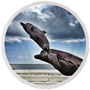 Dramatic Dolphins Round Beach Towel
