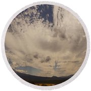 Dramatic Sky Over Mount Shasta Round Beach Towel