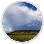 Dramatic Storm Over Table Rock Round Beach Towel