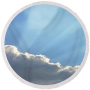 Dramatic Sunbeams And Storm Clouds Maine Poster Print Round Beach Towel