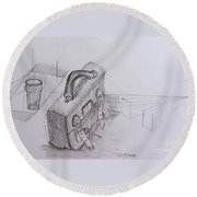 Drawing Class. Leather Satchel And Glass Round Beach Towel