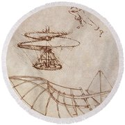 Drawings By Leonardo Divinci Round Beach Towel