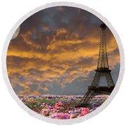 Dreaming Of Paris Round Beach Towel