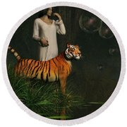 Dreams Of Tigers And Bubbles Round Beach Towel