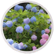 Dreamy Blue And Pink Hydrangeas Round Beach Towel