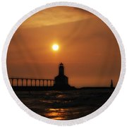 Dreamy Sunset At The Lighthouse Round Beach Towel