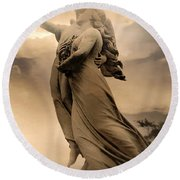 Dreamy Surreal Guardian Angels Ascent To Heaven Round Beach Towel