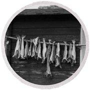 Dried Cod On A Line Round Beach Towel by Heiko Koehrer-Wagner