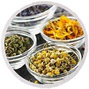 Dried Medicinal Herbs Round Beach Towel