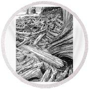 Driftwood Black Cat Round Beach Towel by Jack Pumphrey