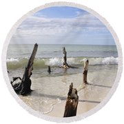 Driftwood Stands Watch Round Beach Towel