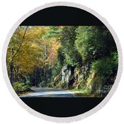 Drive In The Mountains Round Beach Towel