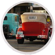 Driving Off Into History Round Beach Towel