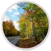 Driving Though The Birches Round Beach Towel