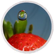 Droplet Falling On A Strawberry Round Beach Towel